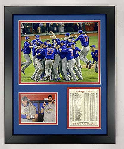 "Legends Never Die Chicago Cubs 2016 World Series Champs Celebration Collectible | Framed Photo Collage Wall Art Decor - 12""x15"", Model: 11400U"