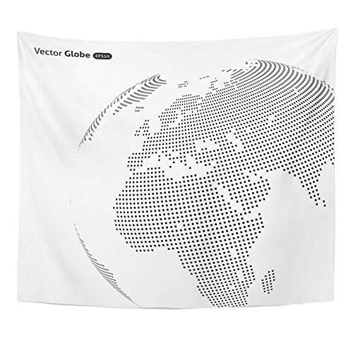 Mapa negro internacional Globo punteado abstracto Vista de calefacción central y tapiz de pared de decoración del hogar mundial en todo el mundo 150x200cm/59x79inchch