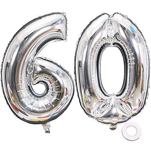 Jurxy Luftballon Zahl 60 Silber Geburtstag Folienballon Helium Folie Luftballons für Geburtstag Jubiläum 40 Zoll - Riesenzahlen #60