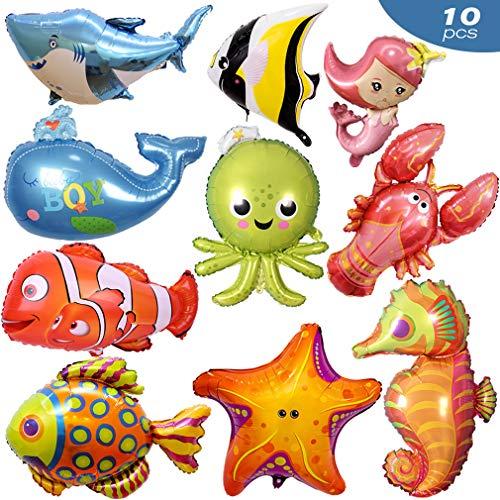 Afuqa Meerestiere Fisch Folienballon 10 Stück Fisch Luftballons für Kinder Geburtstag Party Dekoration