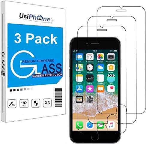 """UsiPhone - Lot de 3 Verre Trempé pour iPhone 6 / 6S, iPhone 7/8, iPhone Se 2020 (4.7"""") Film Protection écran HD - Anti Rayures - sans Bulles d'air - Ultra Résistant [0,33mm] Dureté 9H Glass"""