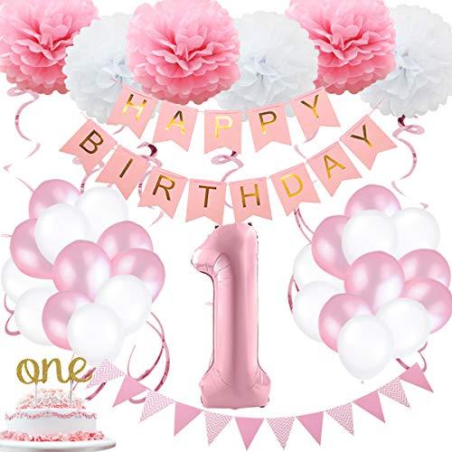 SZHUIHER 1. Geburtstagskind Dekoration, Geburtstagsballon, 1. Mädchen Alles Gute zum Geburtstag Ballon für Pink und Weiß 1. Geburtstagskind Geburtstag Baby Mädchen Erste Geburtstagsdekoration