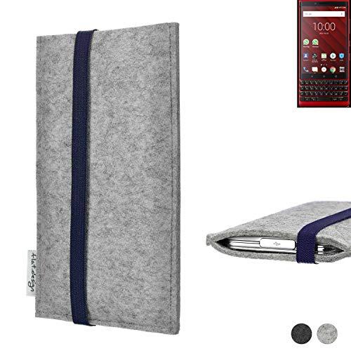 flat.design Handy Hülle Coimbra für BlackBerry KEY2 Red Edition - Schutz Hülle Tasche Filz Made in Germany hellgrau blau