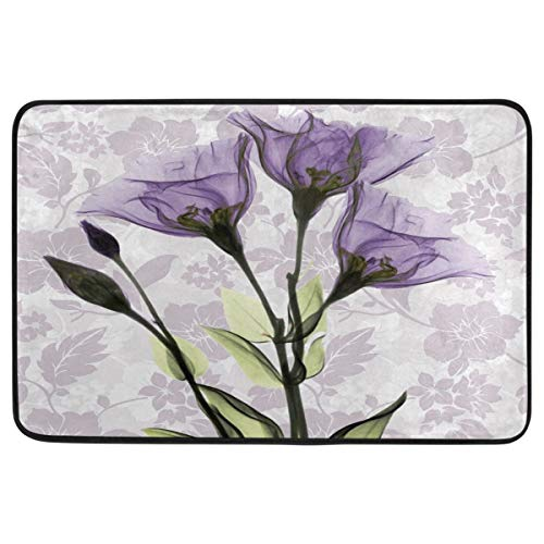 Vintage Art Purple Flower Door Mats Violet Lavender Flowers Floor Mat Indoor Outdoor Entrance Bathroom Doormat Non Slip Washable Spring Summer Floral Welcome Mats Home Decor 23.6 x 15.7 inch