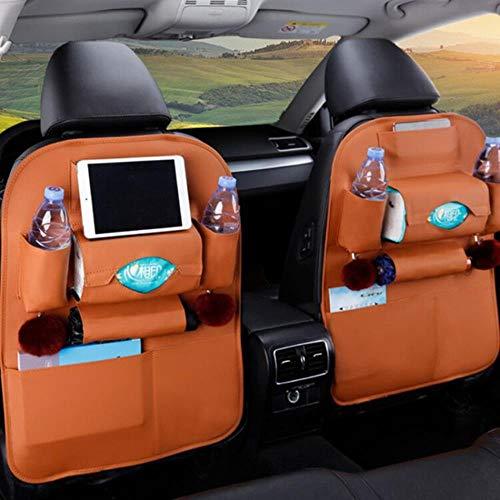 ZHANGYY 1PC PU Leather Car Seat Back Storage Hang Bag Multi-functional IPad Mini Holder Universal Back Seat Organizer for Kids Storage,brown 1