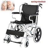 Attendant Antrieb Rollstuhl Mit Armlehne Reisen Rollstuhl Nehmen Old Man Disability Loading150kg Sicherheitsbremse for Innen und Außen (Color : Black) -