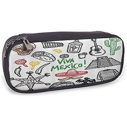 Leder Bleistift Tasche Mexikanische Dekorationen Skizze Latein Objekt mit Burritos Gitarre Tequila Flasche Pinata Quetzal Coati Bleistift Fall