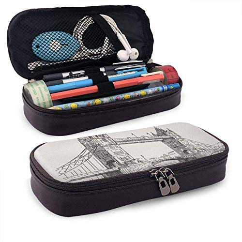 Lawenp London Bridge (2) Leather 3D Nano Printed Pencil Case Pouch Zippered Cute Pen Pencil Case Box School Supply for Students,Big Capacity Stationery Box for Girls Boys and Adults