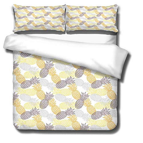 NA/ Bedding 3 Piece Bed Sheet Set - Easy Care Soft Brushed Microfibre Fabric -1 Duvet Cover with 2 Pillowcase - Shrinkage and Fade Resistant &Thick and Soft - Multicolor pineapple-Double size