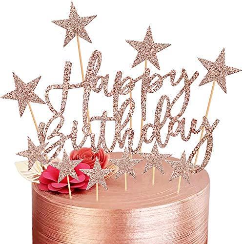 Happy Birthday Cake Topper, 2 Sets Oro Rosa Decoración para Tarta para Niñas Niños Mujeres Hombre Decoración de Pastel Cumpleaños, Estrellas Tarta Cupcake Topper Suministros de Purpurina para Fiestas