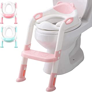 Potty Toilet Chair Seat with Step Ladder for Kids and Toddler Boys Girls - Soft Padded Seat with Foldable Wide Step and Sa...