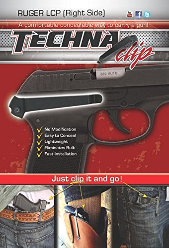 Techna Clip – Ruger LCP.380 - Conceal Carry Belt Clip (Right-Side) , Black