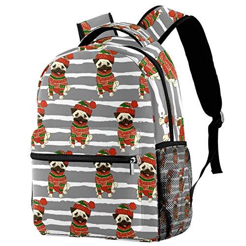 Mochila con diseño de carlino en suéter y gorro de invierno, mochila de viaje, informal, para mujeres, adolescentes, niñas y niños