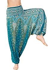 PANASIAM Aladin broek, designstijl: 'V' Peacock, het origineel, kwaliteitsbroek van natuurlijke stof!! M,L & XL