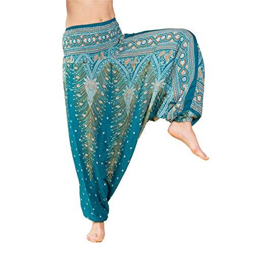 PANASIAM Aladin Pants Unisex-Modell Peacock 'V' I 100% natürliche Viskose - angenehm weich & leicht I hochwertiger Gummibund - für dauerhaft bequemen Sitz I Haremshose
