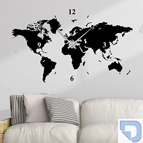 DESIGNSCAPE® Wandtattoo Uhr Weltkarte 180 x 108 cm (B x H) pastell-blau inkl. Uhrwerk schwarz, Umlauf 90cm DW813006-L-F99-BK