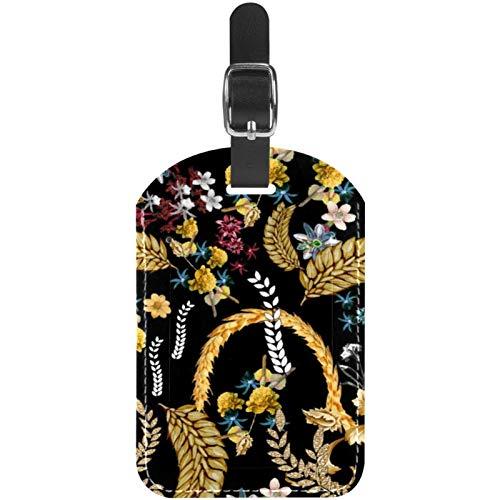 Etiquetas de equipaje Reapen Trigo y Flores de cuero para maleta de viaje, 1 paquete