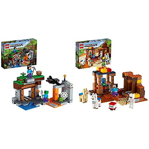 Lego 21166MinecraftLaMinaAbandonada,SetDeConstrucciónDeLaCuevaDeZombiesconFigurasDeSteve + 21167 Minecraft El Puesto Comercial, Set De Construcción con Figuras De Steve