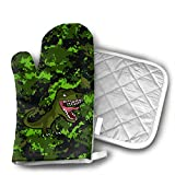Ferocious T Rex Oven Mitts and Potholders (2-Piece Sets) - Extra Long Professional Heat Resistant Pot Holder & Baking Gloves - Food Safe