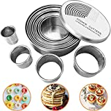 KLEVERISE Round Cookie Biscuit Cutter Set, 12 Graduated Circle Pastry Cutters, Heavy Duty Commercial...