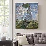 Lienzo con sus fotos Claude Monet mujer con un parasol cartel pintura decoración del hogar sala de estar arte pared cuadros pintura arte decoración 60x90cm