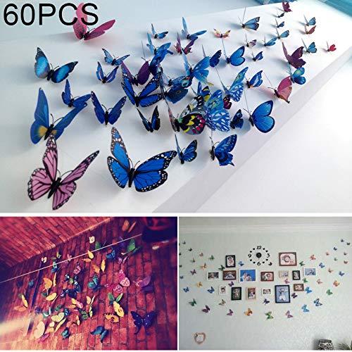 OPNIGHDYMD Etiqueta engomada de la Pared de la Mariposa de la Moda 3D, Mariposa de la simulación del PVC para la decoración casera, decoración de la Pared (60 PCS)