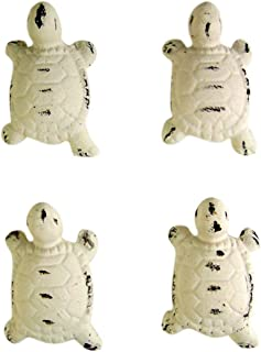 Cast Iron Distressed White Turtle Drawer Pull Set of 4