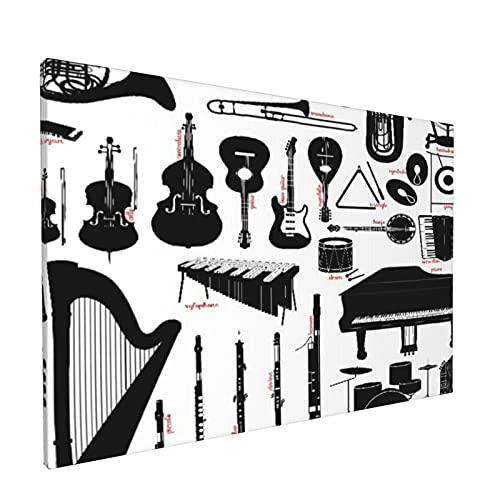 PATINISA Cuadro en Lienzo,Clarinete Instrumentos musicales Flauta Banjo Tambor Fagot Piano Piccolo Trombón,Impresión Artística Imagen Gráfica Decoracion de Pared