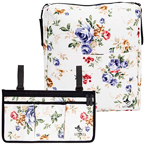 Two Bags Wheelchair Accessories by Astrata - Backpack Storage and Armrest Side Organizer - Lightweight Wheelchair Rollator Walker Bag - Organizers and Storage Travel Items (Floral)