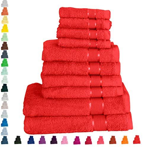 Mixibaby Handtuch 10er Set 2X Duschtuch 4X Handtuch 4X Gästetuch 100% Baumwolle Frottee, Farbe:Coral