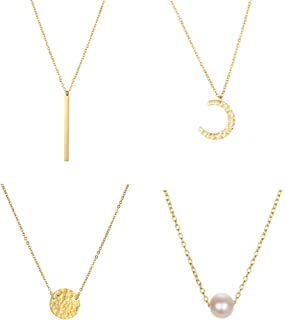 Fashion Hammered Coin Moon Dangling Pendant Necklace Set Dainty Gold Pearl Crescent Metal Bar Collar Necklace for Women Gi...