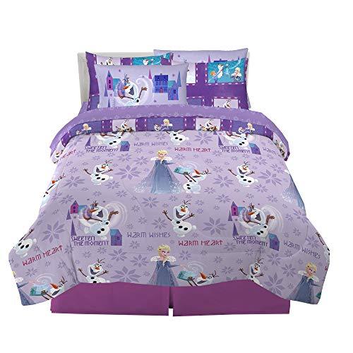 Franco Kids Comforter and Sheet Set with Sham, 7 Piece Full Size, Disney Frozen