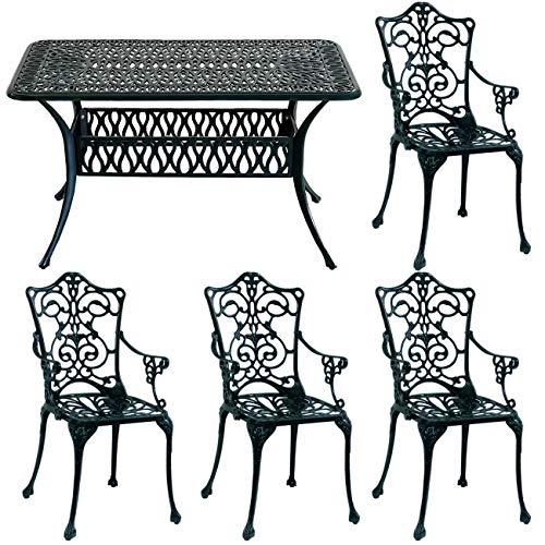 ガーデンテーブルセット 幅132 アルミ 鋳物 5点セット 屋外 庭 テラス ダークグリーン