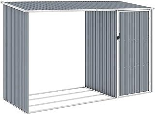 vidaXL Abri à Bois de Jardin Hangar de Stockage d'Outils Abri de Rangement Remise en Rondins Cabane Extérieur Gris 245x98x...