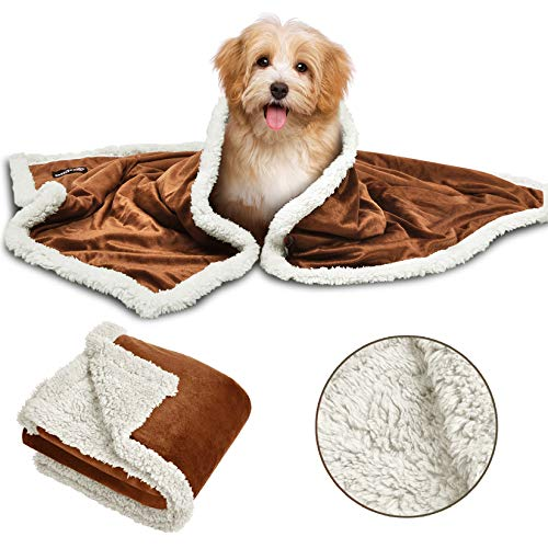 Puppy Fleece Blankets, Washable Sherpa Fluffy Cosy Warm Plush Pet Blankets for Small Dog Cat Kitten Double Thickness Throws 114 x 76 cm Brown