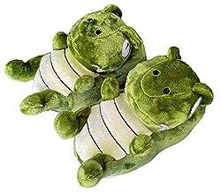 5. ixiton Cute Character Plush Dinosaur Slippers