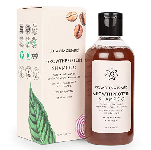 Bella Vita Organic Shampoo with Growth Protein for Hair Volume, Fall, Dandruff, Frizz Control, Shine & Strength, 225 ml