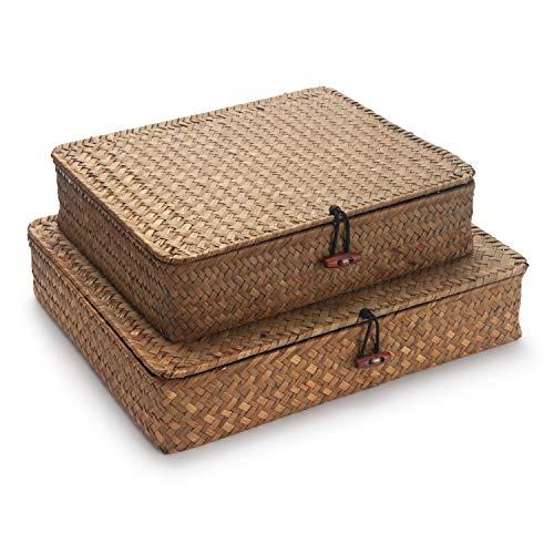 Flat Seagrass Storage Bins with Lid, Small Wicker Basket Shelf Wardrobe Organizer, Set of 2