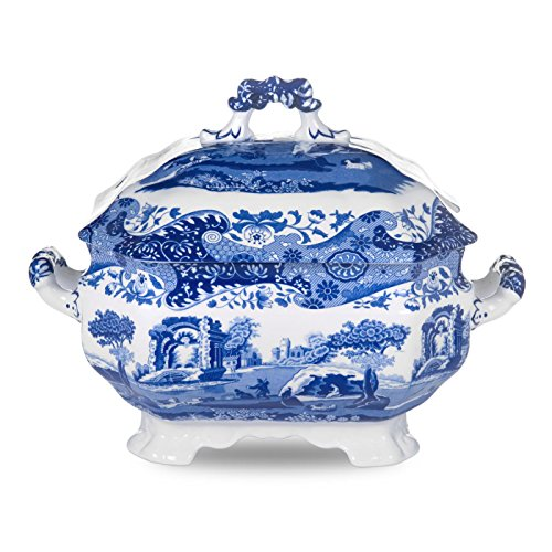Blue Italian 3,4 l Zuppiera in Porcellana, Colore: Blu/Bianco
