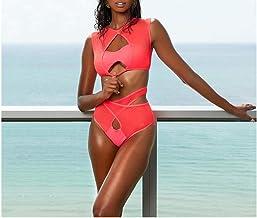 EverNight Sexy Swim Suites Womens Bikini Bathing Suits for Teens Scrunch Butt High Waisted Bikini Set Swimsuit,Pink,L