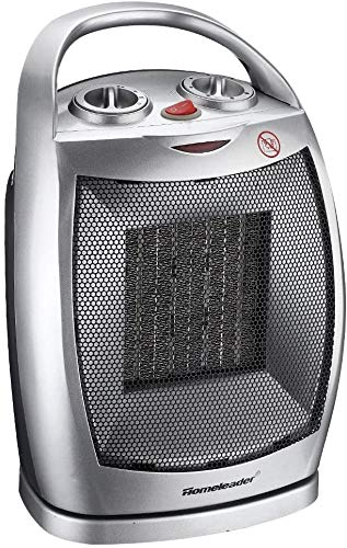 Homeleader Portable Electric Space Heater, Electric Heater with Thermostat, Ceramic Heater with Tip Over Switch, for Home and Office, 750W/1500W