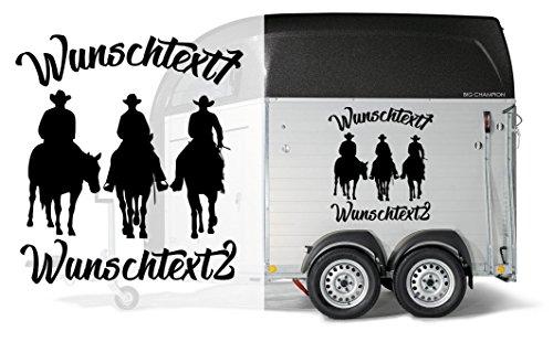 Trio Western Riding - Aufkleber | individuell mit 2x Wunschtext | Auto Anhänger Aufkleber | Pferde | Horse