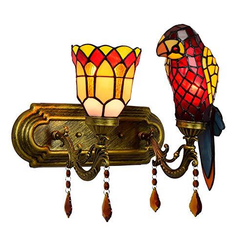 ZMLG Parrot Tiffany Aplique De Pared Vintage E27, 2 Lámpara Lámpara De...