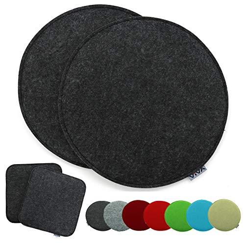 heimtexland - Set di 2 cuscini per sedia, in feltro, rotondi, 35 cm, Typ631, colore: antracite