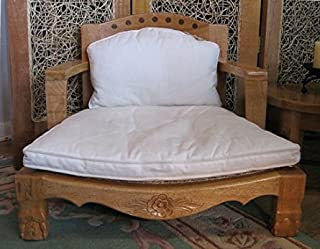 Raja Royal Meditation Chair in Natural Finish with White Cushions
