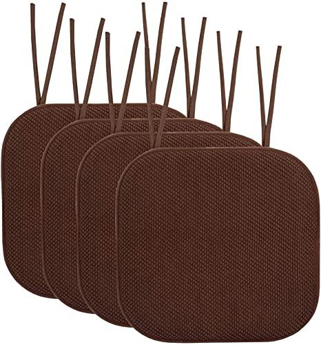 Cojines de silla de espuma viscoelástica con lazos de goma antideslizante, 40,6 x 40,6 cm, fundas de asiento duraderas para salón, cocina, 4 unidades, color marrón