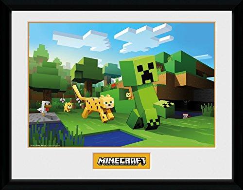 Minecraft 1art1 Ocelot Chase Gerahmtes Bild Mit Edlem Passepartout | Wand-Bilder | Kunstdruck Poster Im Bilderrahmen 40 x 30 cm