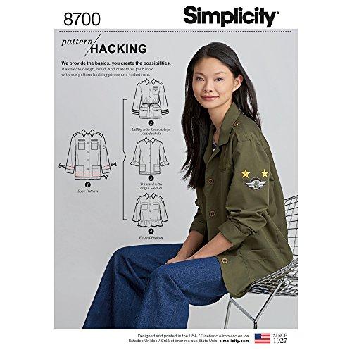 Simplicity Pattern Hacking Women's Peplum Jacket, Ruffle Sleeve Jacket, and Drawstring Jacket Sewing Patterns, Sizes XS-XL
