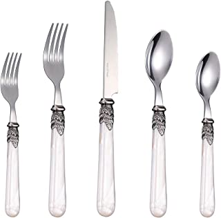 Stainless Steel Silverware Set - 30-Piece Royal Flatware Set with White Pearl Handle, Vintage Cutlery Set Including 6 Steak Knives, 12 Forks, 12 Spoons, FDA Certified, Mirror Polished, Service For 6