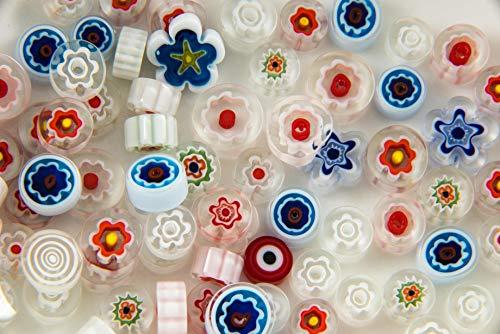 Devardi Glass COE 90 Hi-Def Premium Fire-Polished Millefiori 2 oz Mix #4 Whites, Fusing, Mosaic